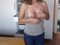 MY HOT WIFE SHOWING OFF HER DELICIOUS TITS FOR THEM