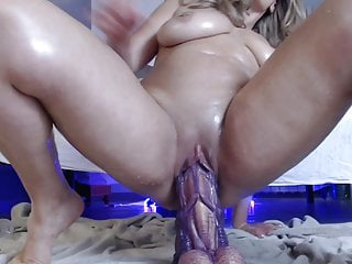 Squirting with dildo monster...