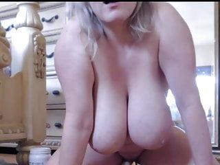 Big tits driving dildo