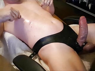 Jerking and edging his cock...